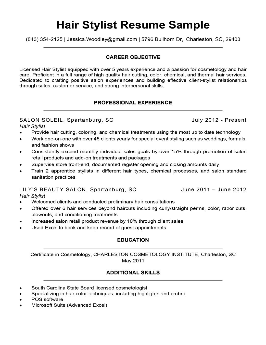 007 Beautiful Hair Stylist Resume Template High Definition  Word Free DownloadFull