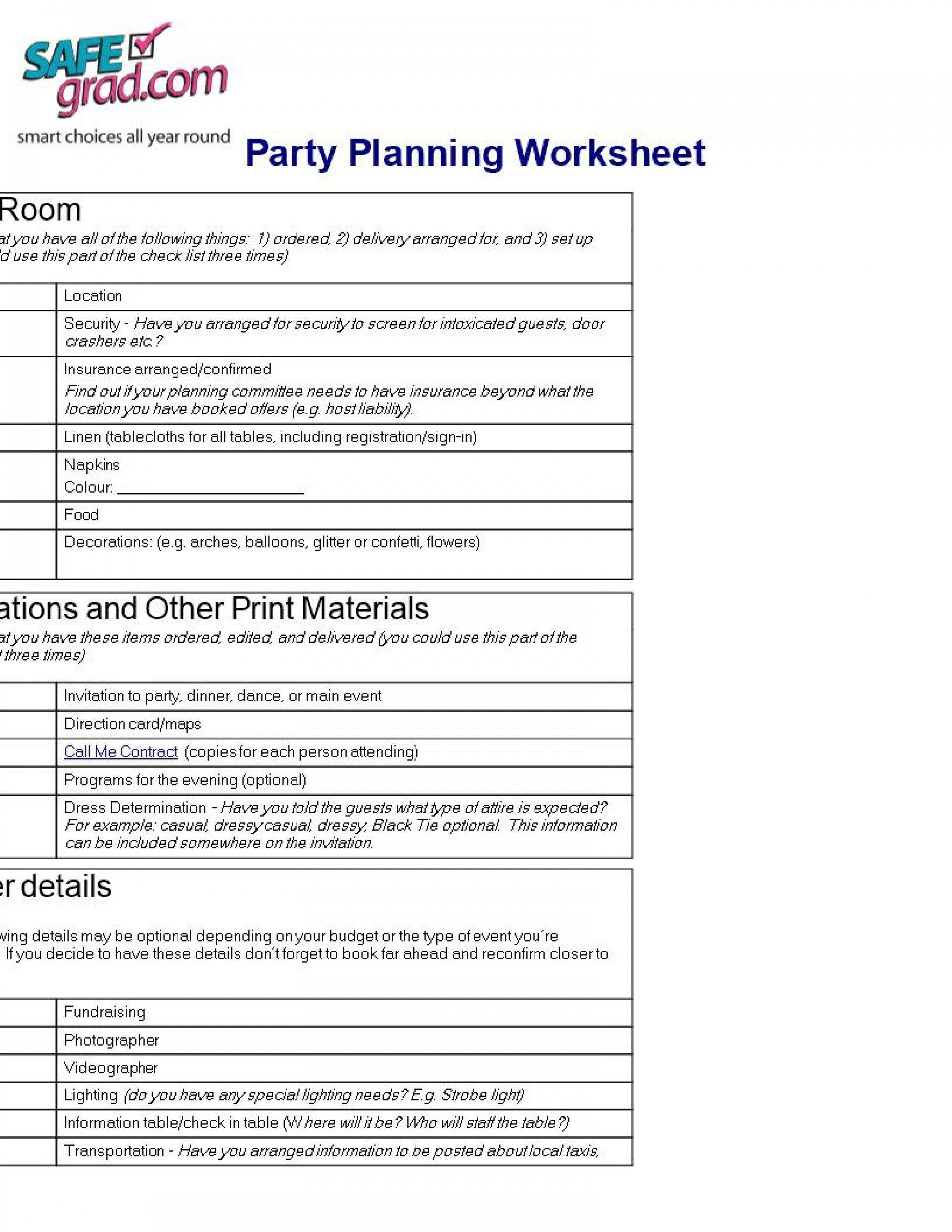 007 Beautiful Party Plan Checklist Template Picture  Planning Free Graduation Birthday1920