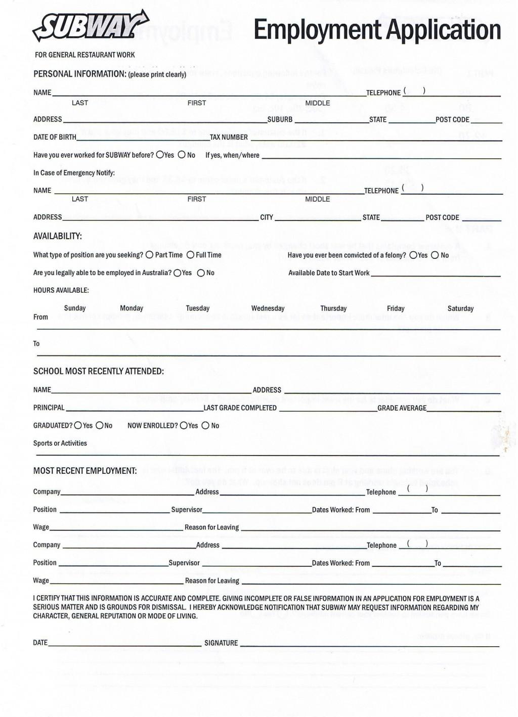 007 Beautiful Printable Job Application Template Idea  Free Employment PdfLarge