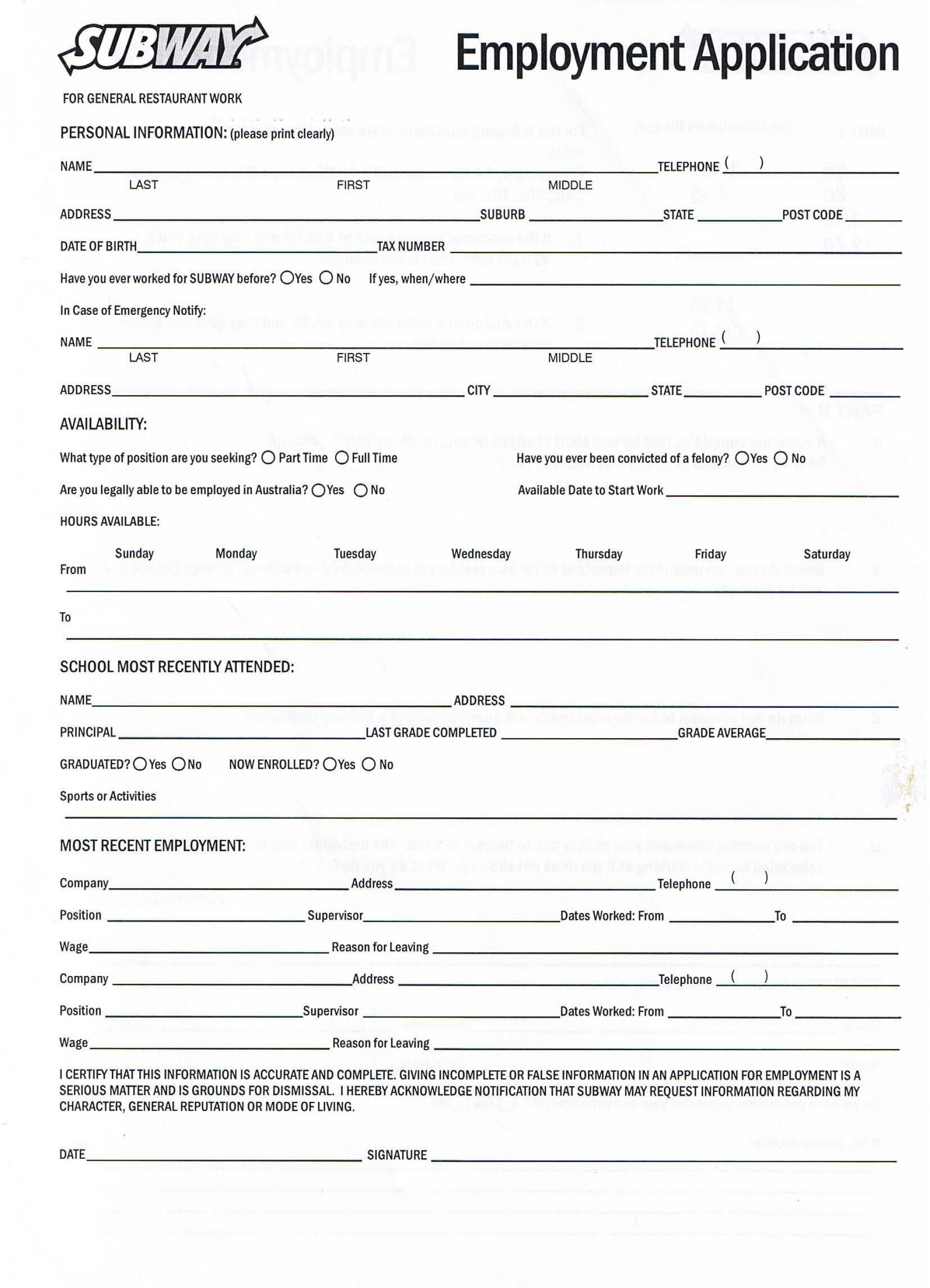 007 Beautiful Printable Job Application Template Idea  Free Employment Pdf1920