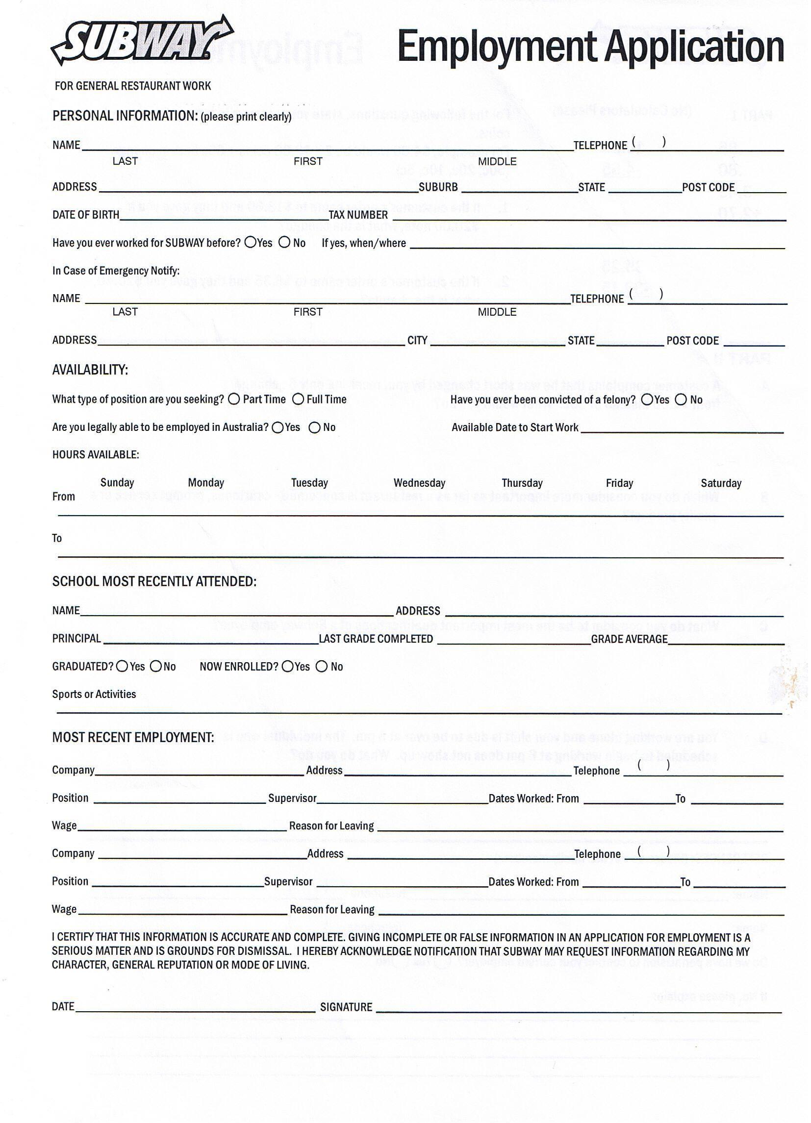 007 Beautiful Printable Job Application Template Idea  Free Employment PdfFull