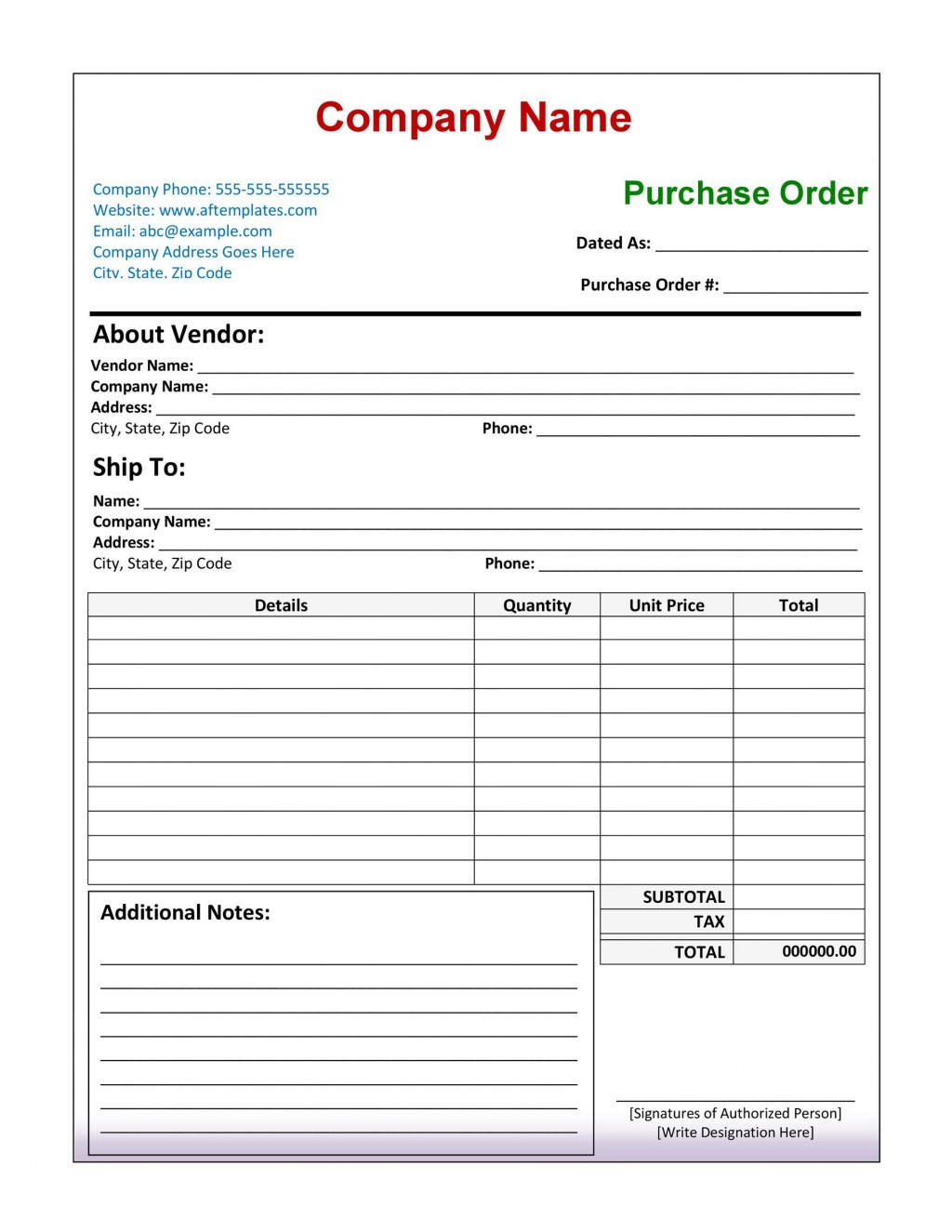 007 Beautiful Purchase Order Form Template High Definition  Templates Free Sample Download OnlineLarge