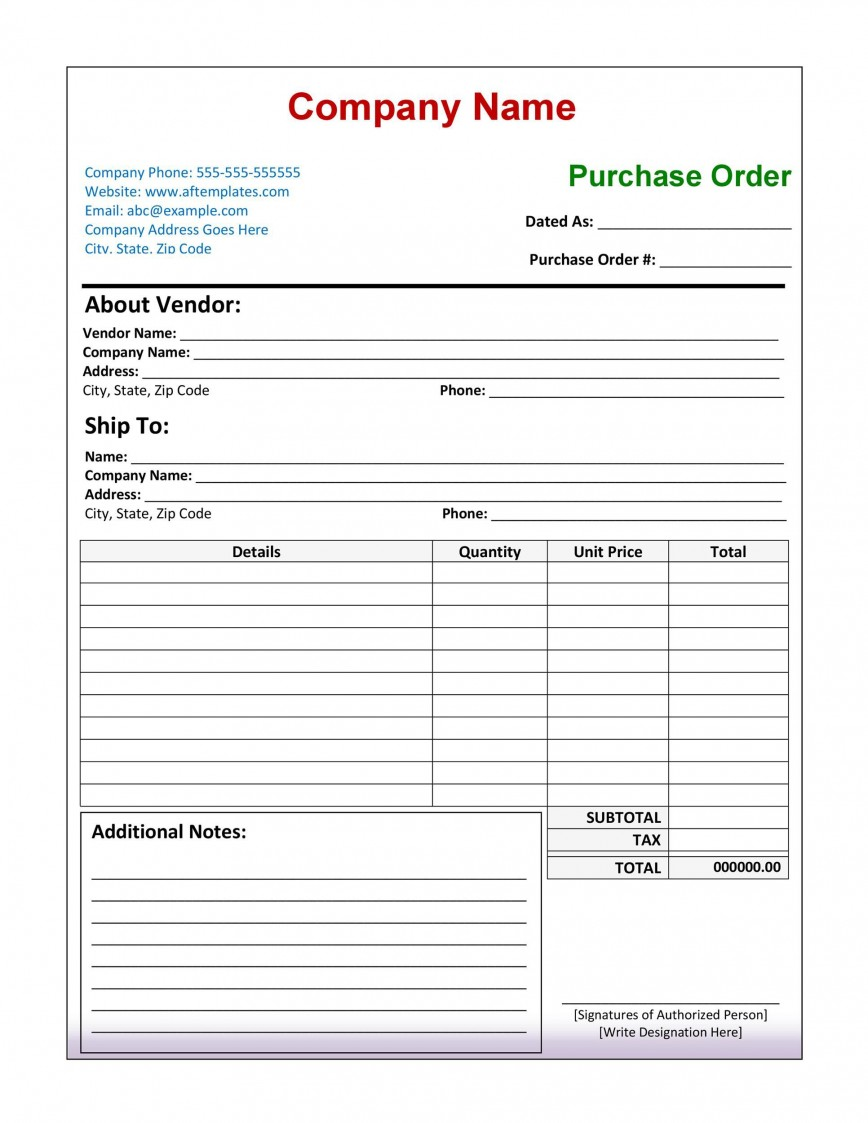Purchase Order Form Templates Addictionary
