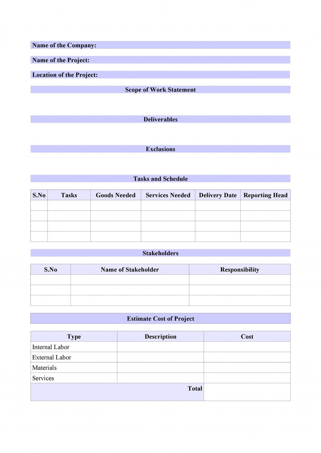 007 Beautiful Simple Scope Of Work Template Picture  Example Sample ExcelLarge