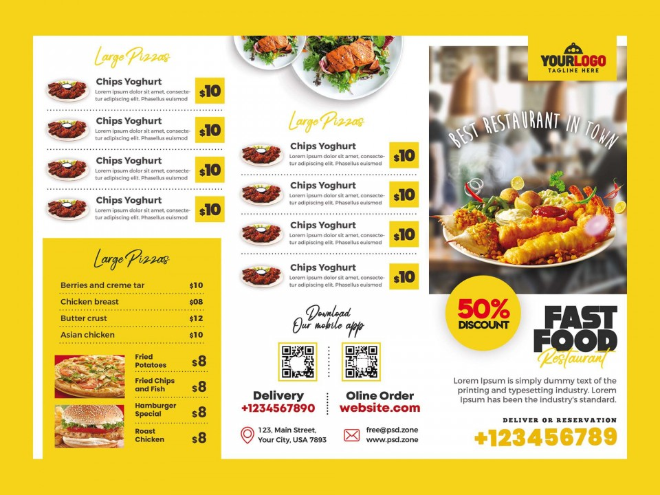 007 Beautiful Tri Fold Menu Template Free Idea  Wedding Tri-fold Restaurant Food Psd Brochure Cafe Download960