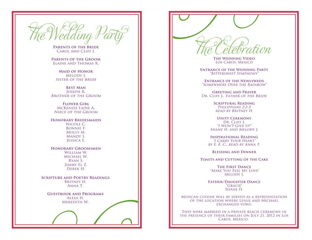 007 Beautiful Wedding Reception Programme Template Sample  Program Microsoft Word Free Downloadable PdfLarge