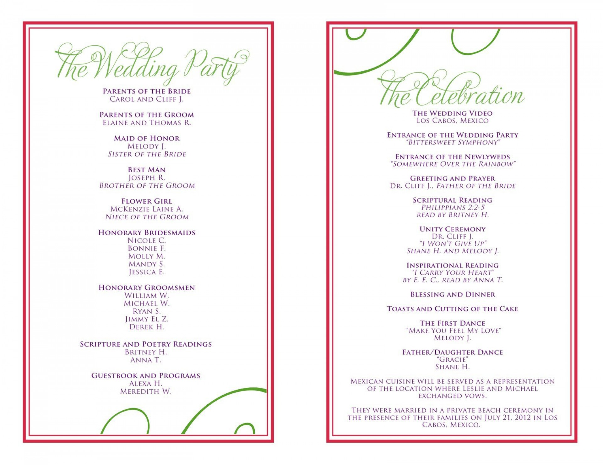 007 Beautiful Wedding Reception Programme Template Sample  Program Microsoft Word Free Downloadable Pdf1920