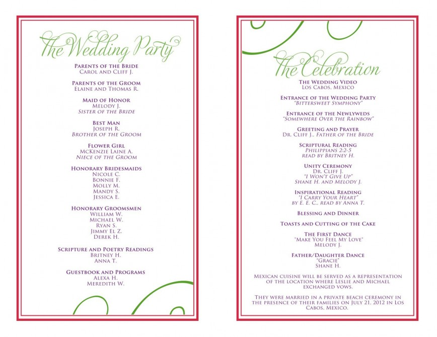 007 Beautiful Wedding Reception Programme Template Sample  Program Free Download