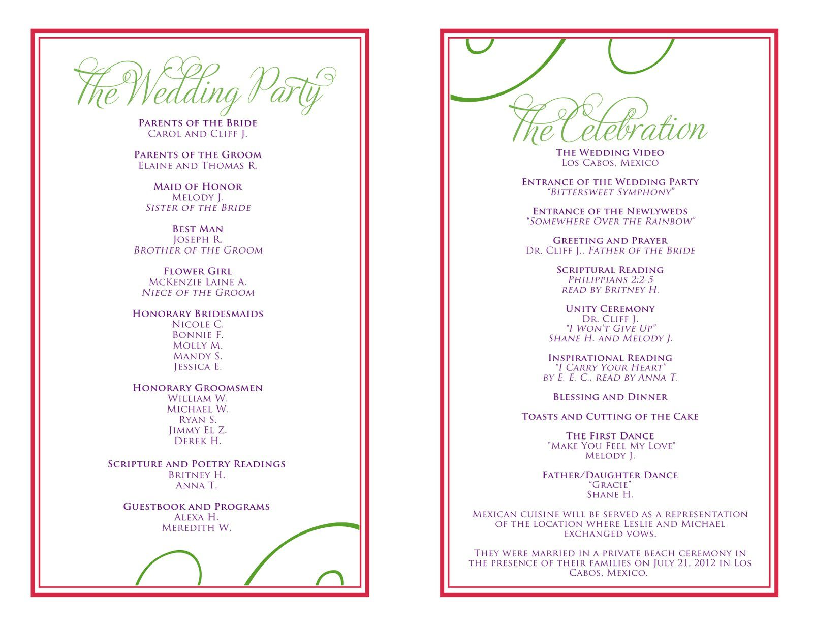 007 Beautiful Wedding Reception Programme Template Sample  Program Microsoft Word Free Downloadable PdfFull