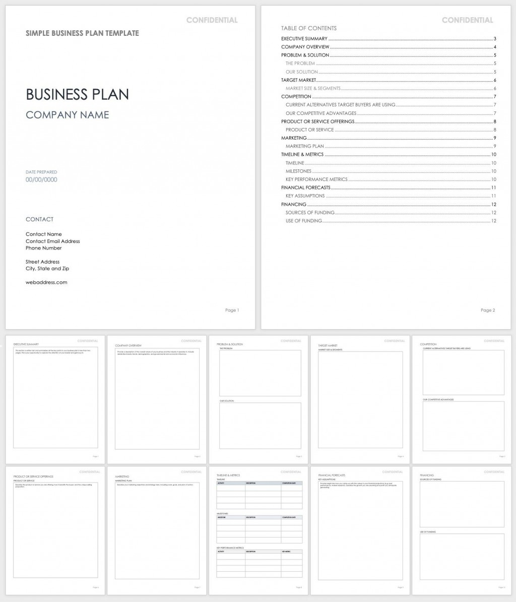 One Page Business Plan Template Word from www.addictionary.org