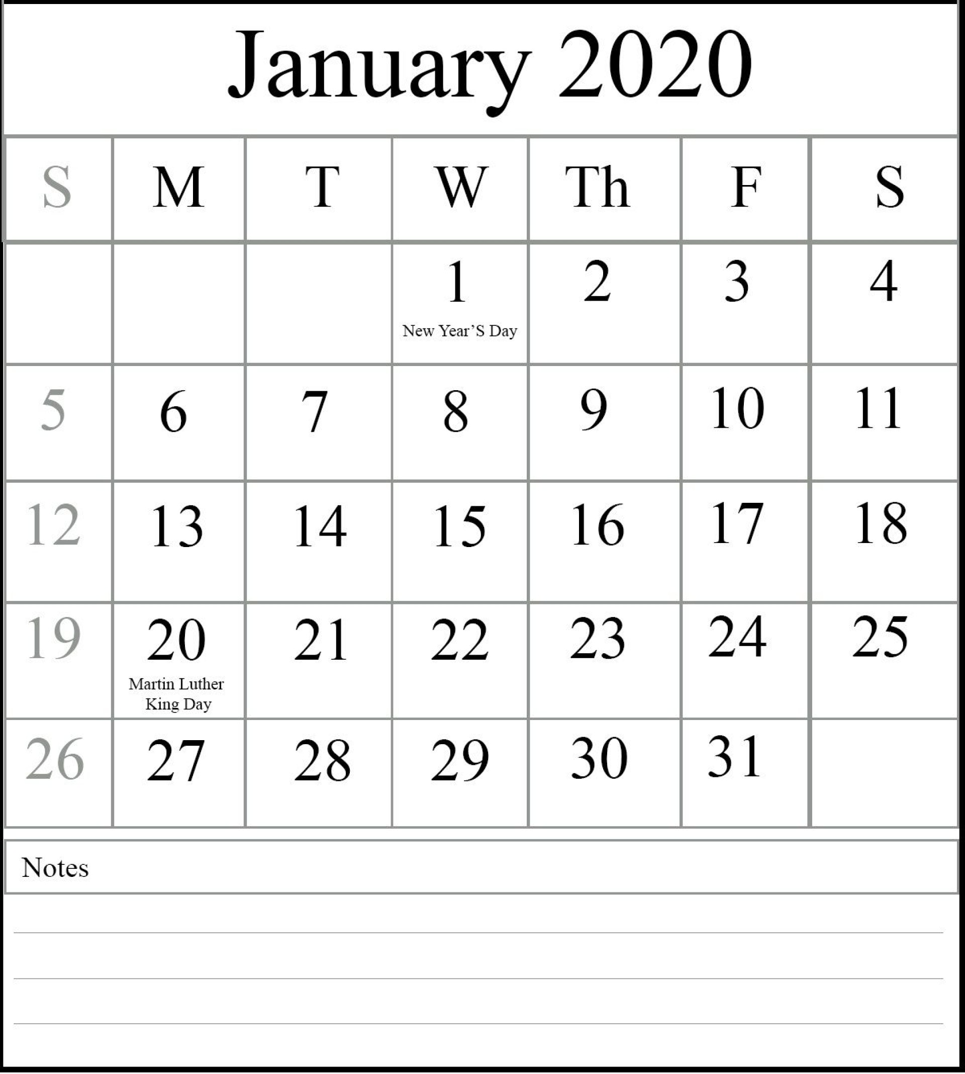 007 Best 2020 Blank Calendar Template High Resolution  Printable Monthly Word Downloadable With Holiday1920