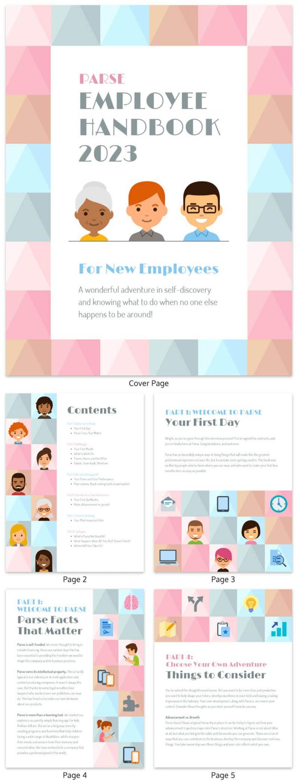 007 Best Free Employee Handbook Template Word Design  Sample In Training ManualLarge