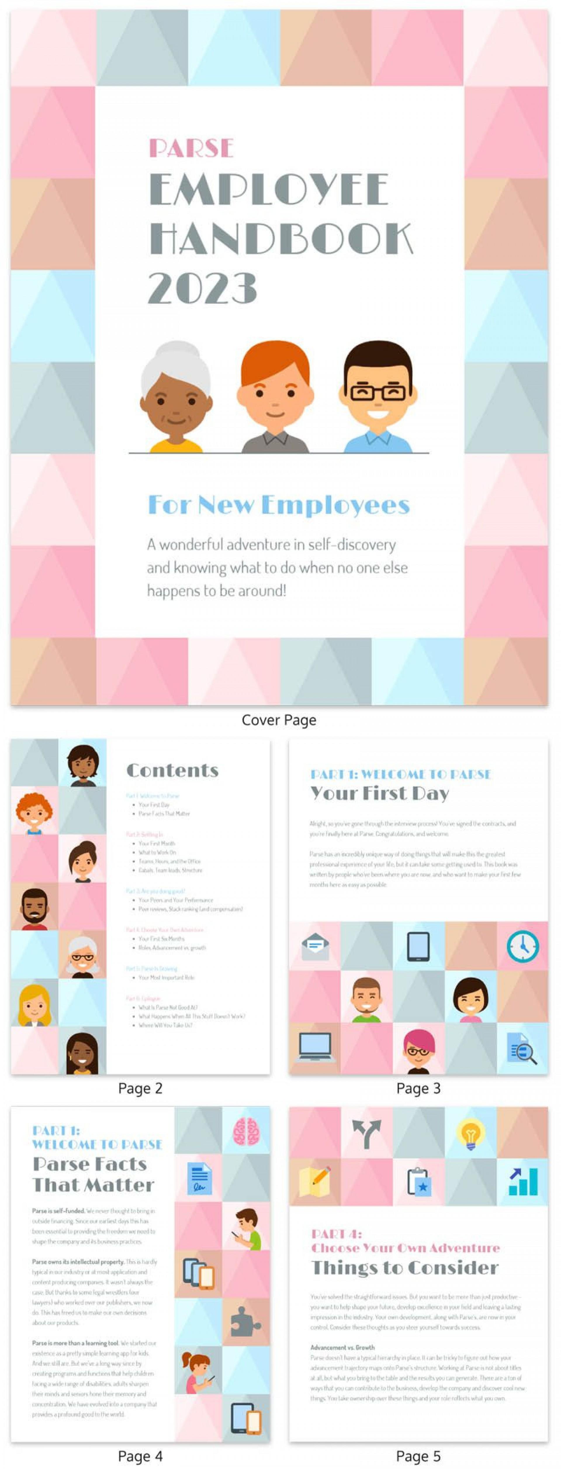 007 Best Free Employee Handbook Template Word Design  Sample In Training Manual1920