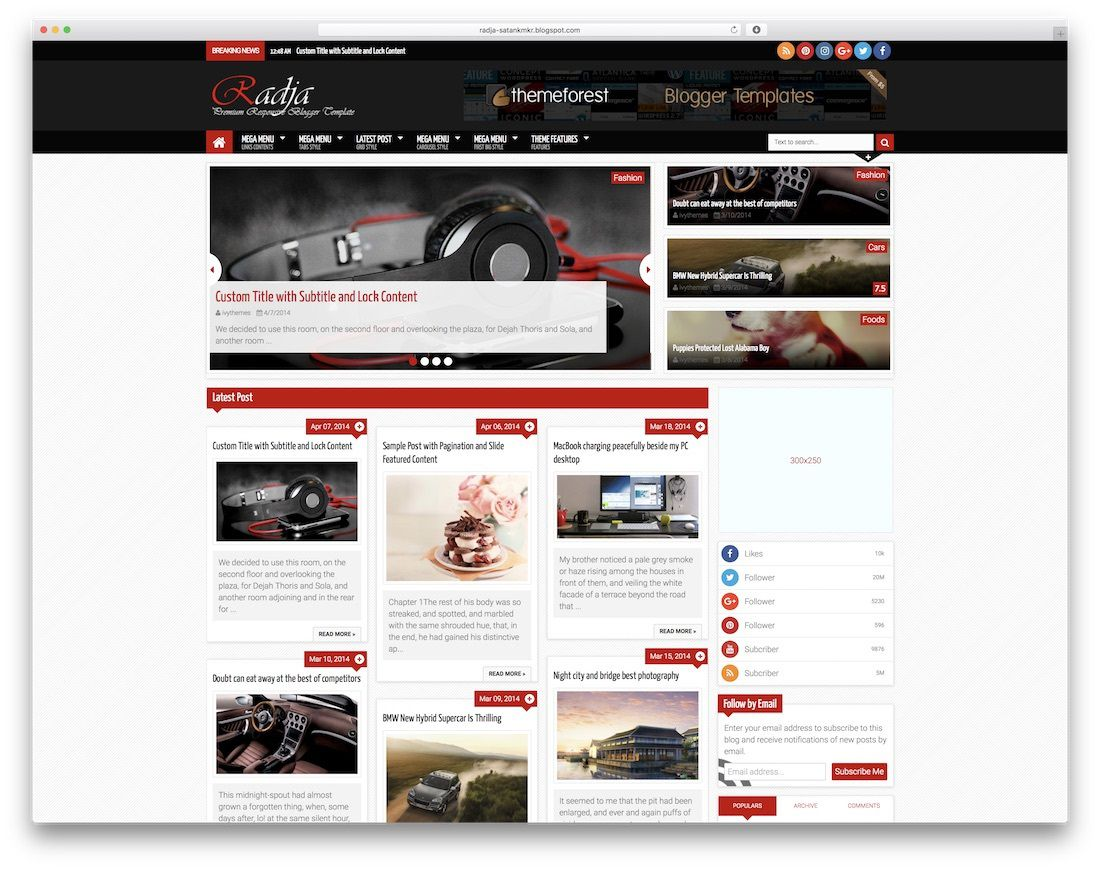 007 Best Free Responsive Blogger Template With Slider High Def Full
