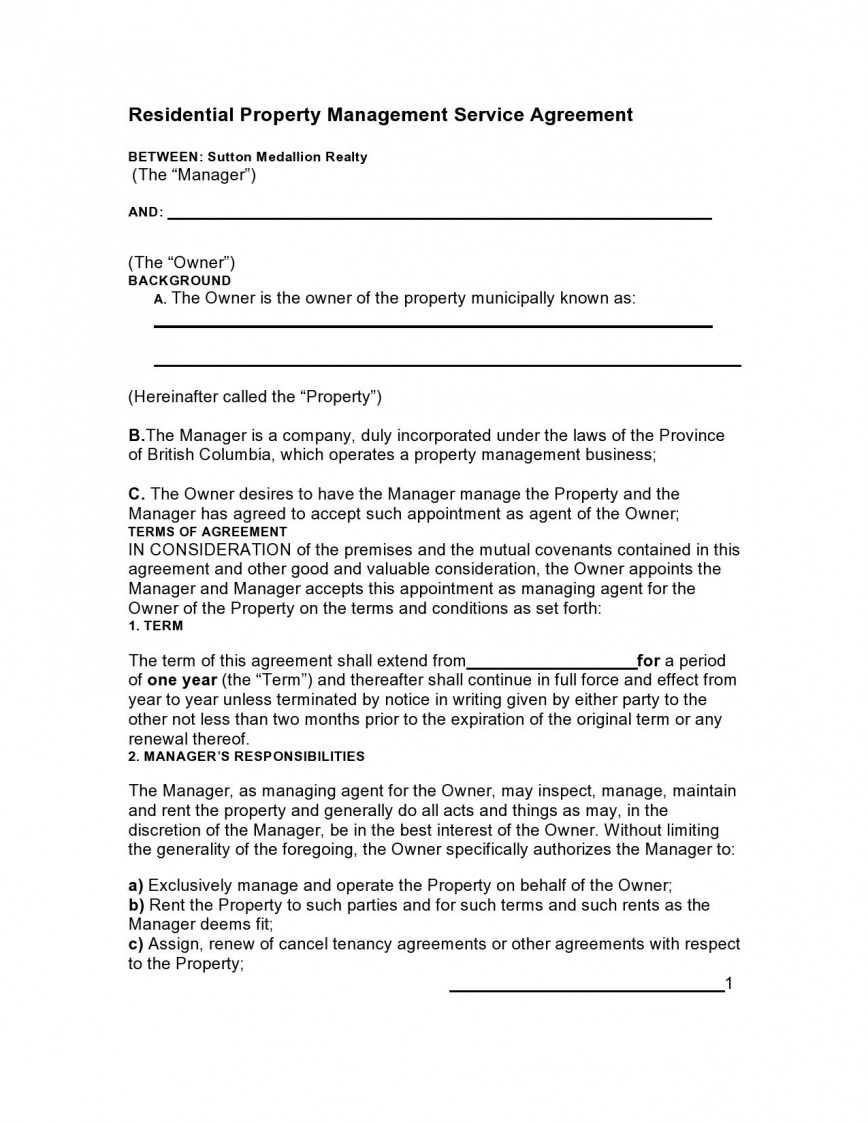 007 Best Property Management Contract Sample Picture  Form Agreement