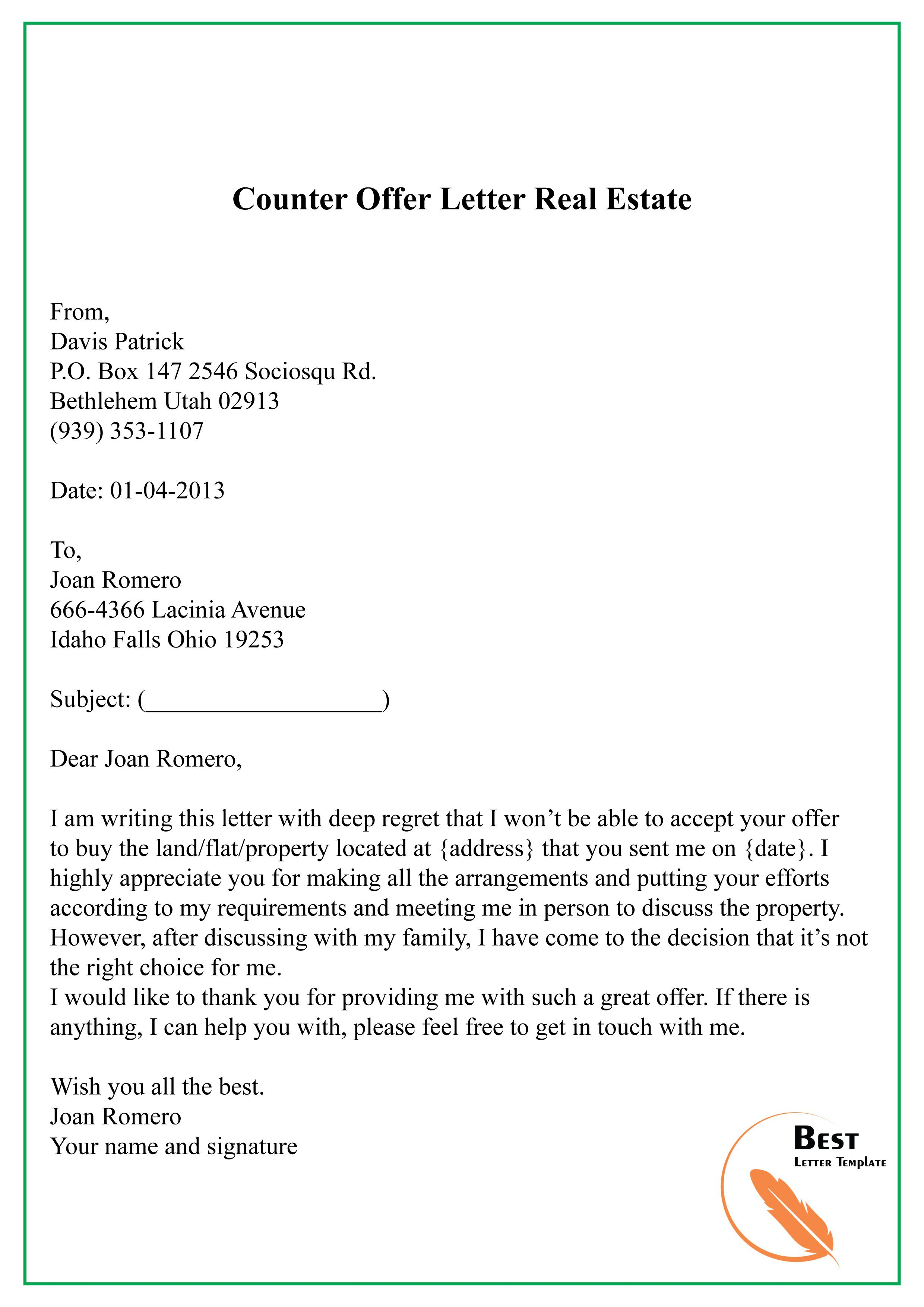 Real Estate Counter Offer Letter from www.addictionary.org