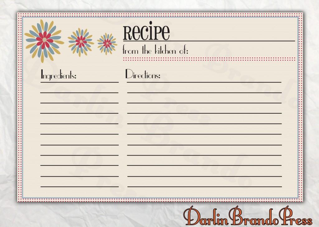 007 Best Recipe Card Template For Word Design  Printable Blank FillableLarge