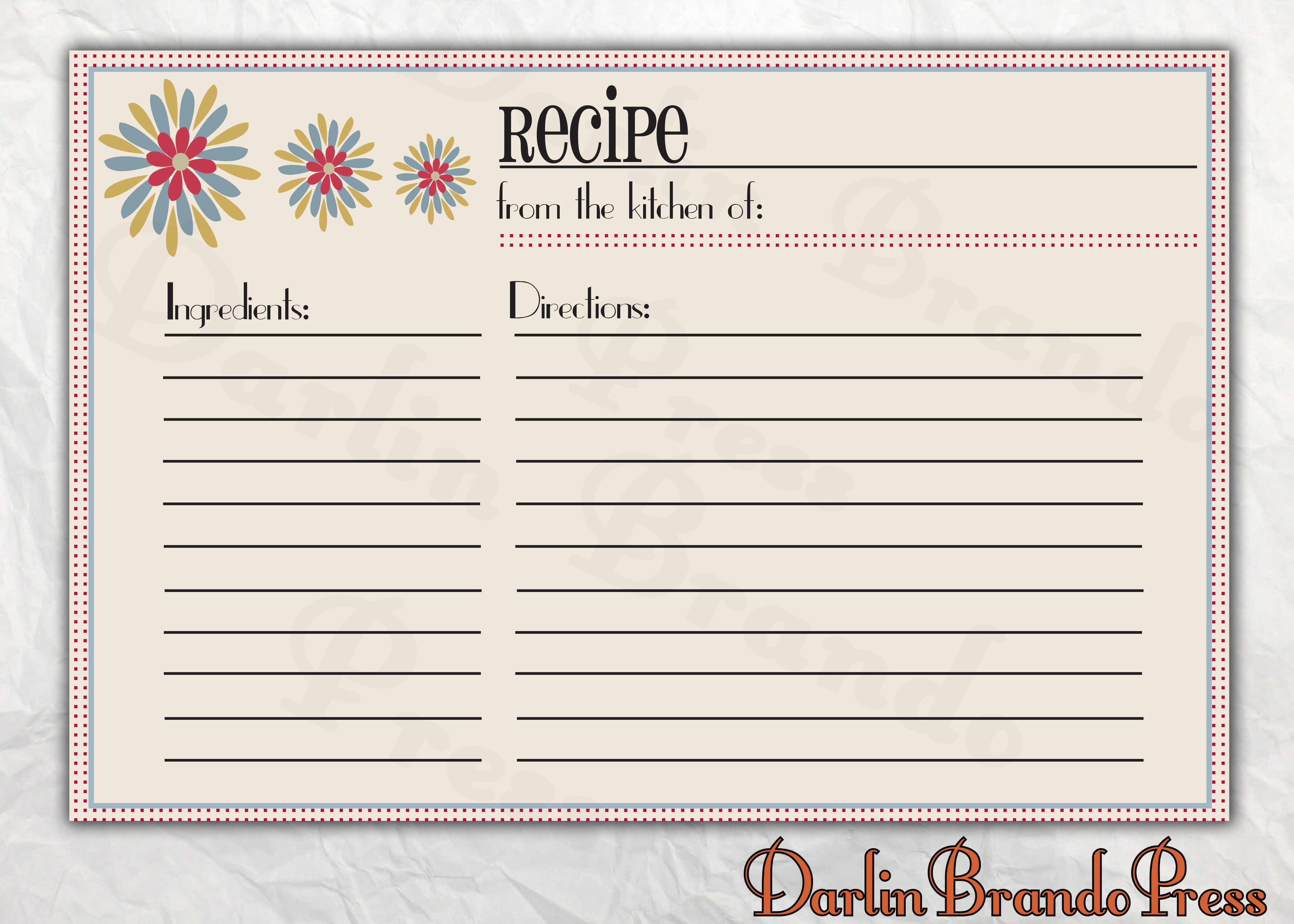 007 Best Recipe Card Template For Word Design  Printable Blank FillableFull