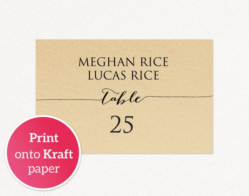 007 Best Wedding Name Card Template Sample  Templates For Table Place Free