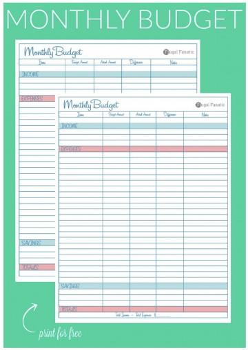 007 Breathtaking Free Blank Monthly Budget Sheet Concept  Printable Worksheet360