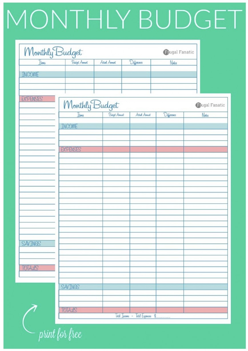 007 Breathtaking Free Blank Monthly Budget Sheet Concept  Printable Worksheet868