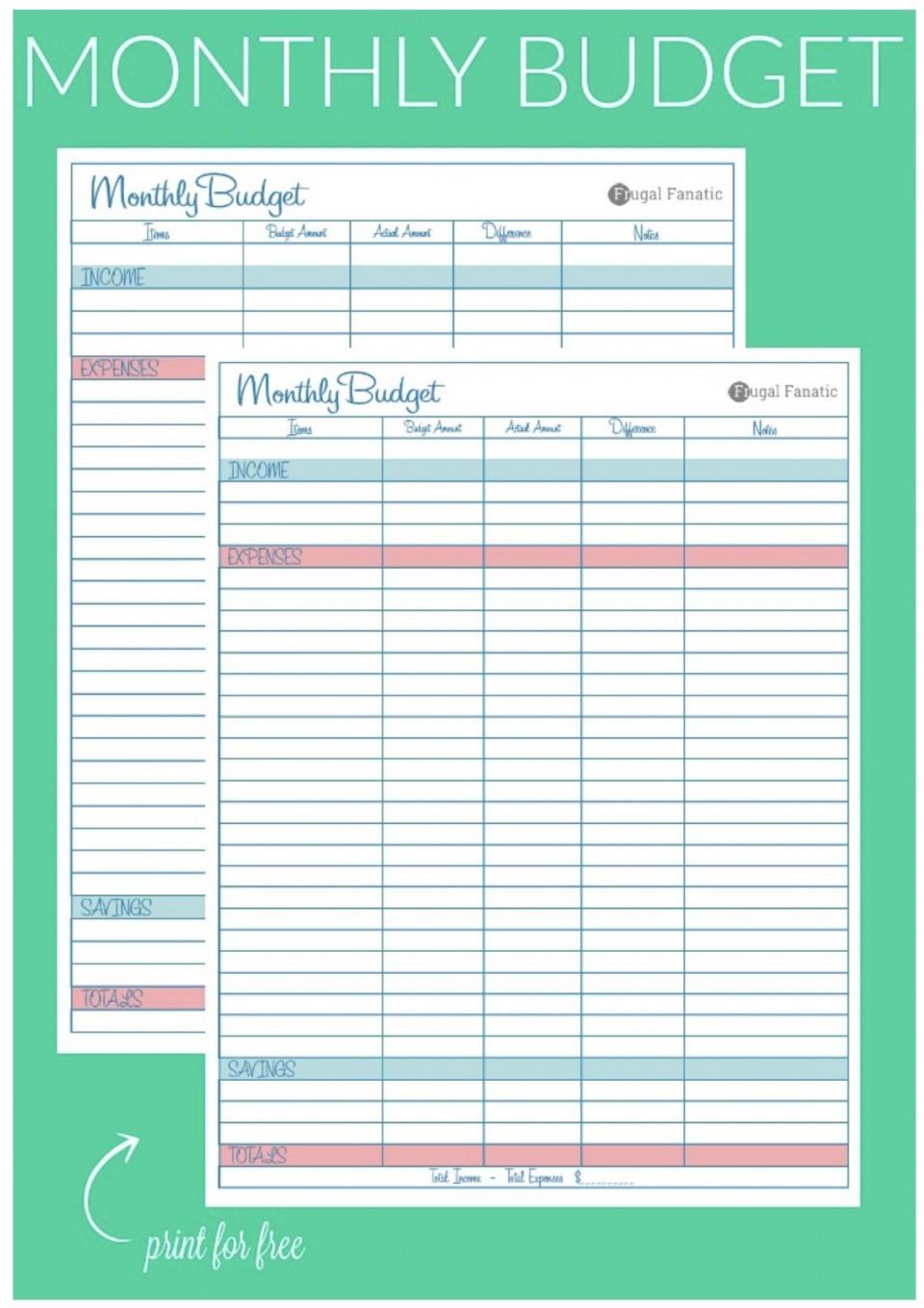 007 Breathtaking Free Blank Monthly Budget Sheet Concept  Printable Worksheet960
