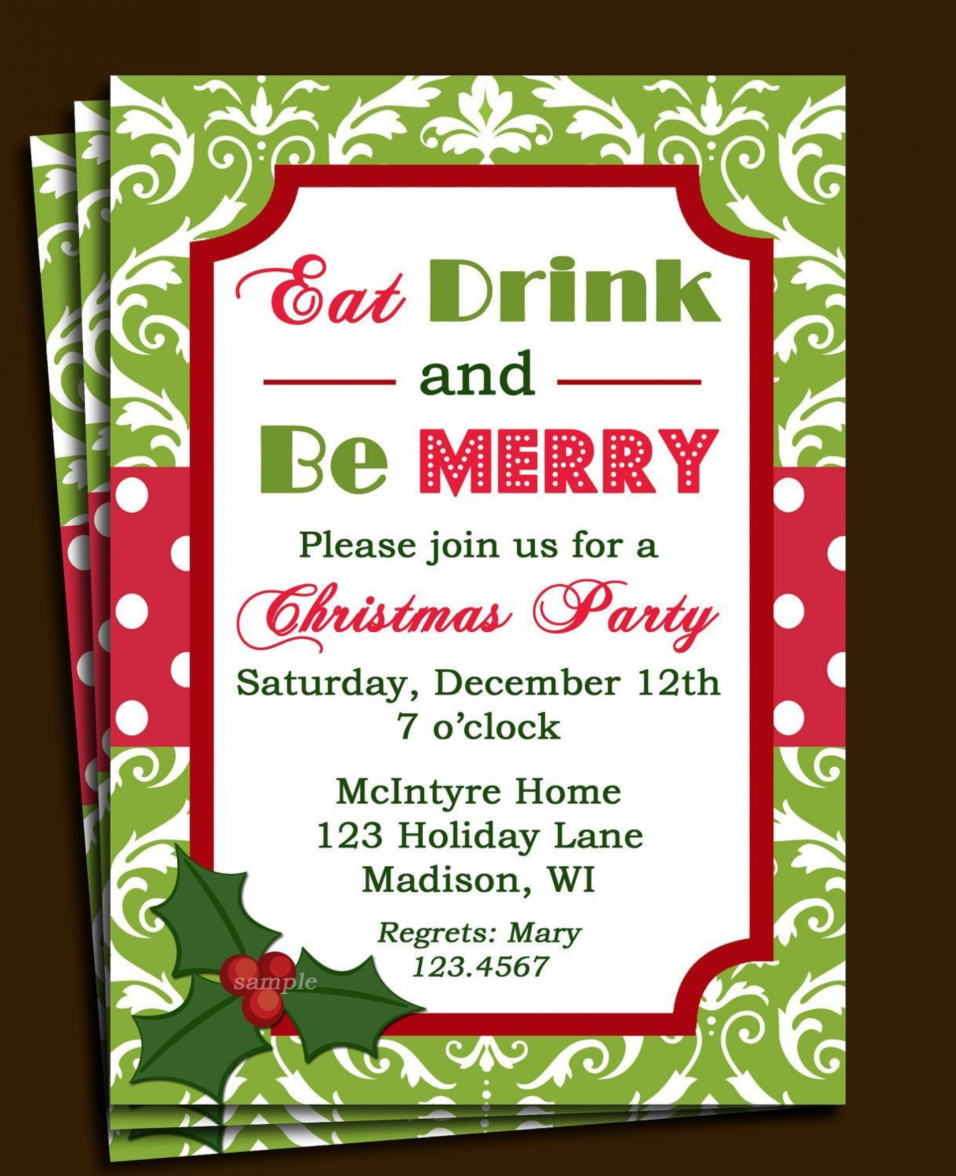 007 Breathtaking Free Holiday Party Invitation Template For Word Highest Clarity 1920