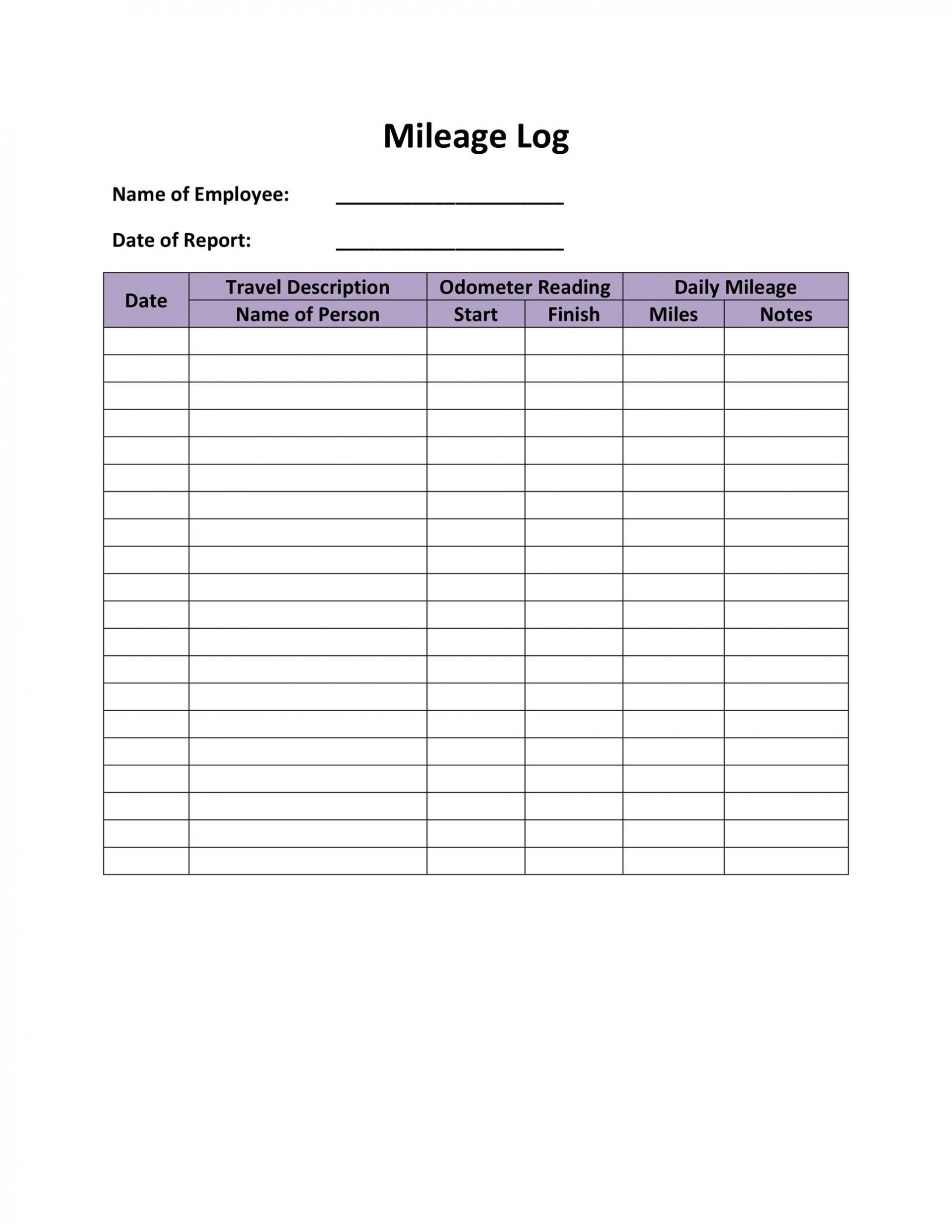 007 Breathtaking Free Mileage Log Template Concept  For Taxe Canada1920