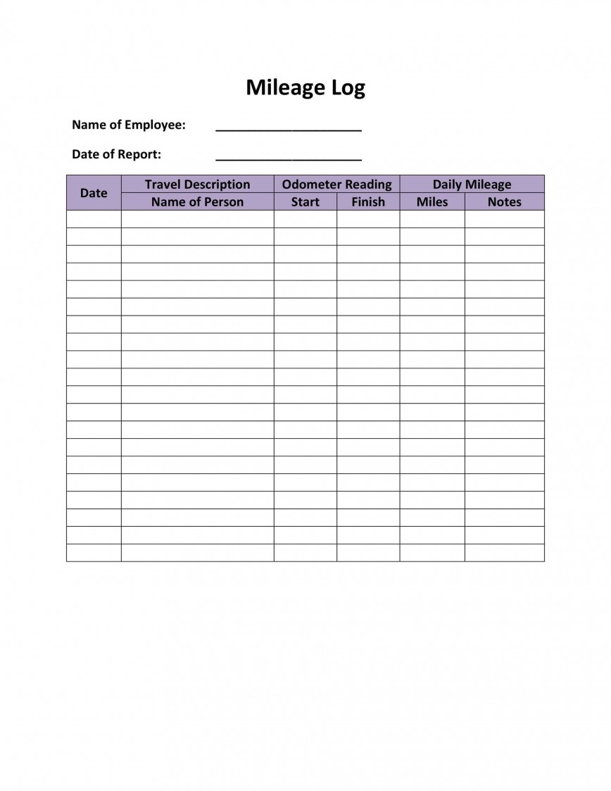 007 Breathtaking Free Mileage Log Template Concept  For Self Employed Taxe