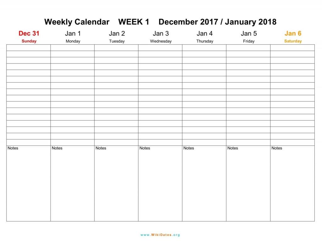 007 Breathtaking Free Printable Weekly Calendar Template 2018 Image Large
