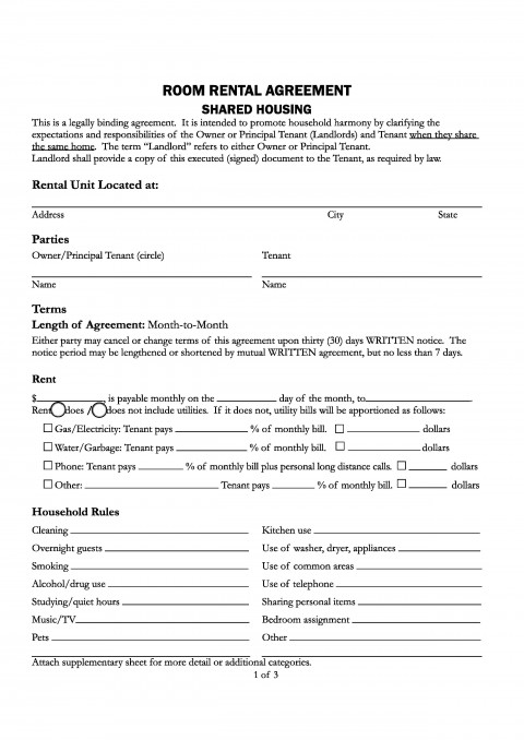 007 Breathtaking Generic Room Rental Agreement Free Highest Clarity  Printable480