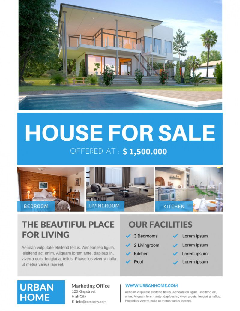 007 Breathtaking House For Sale Flyer Template Inspiration  Free Real Estate Example By OwnerFull