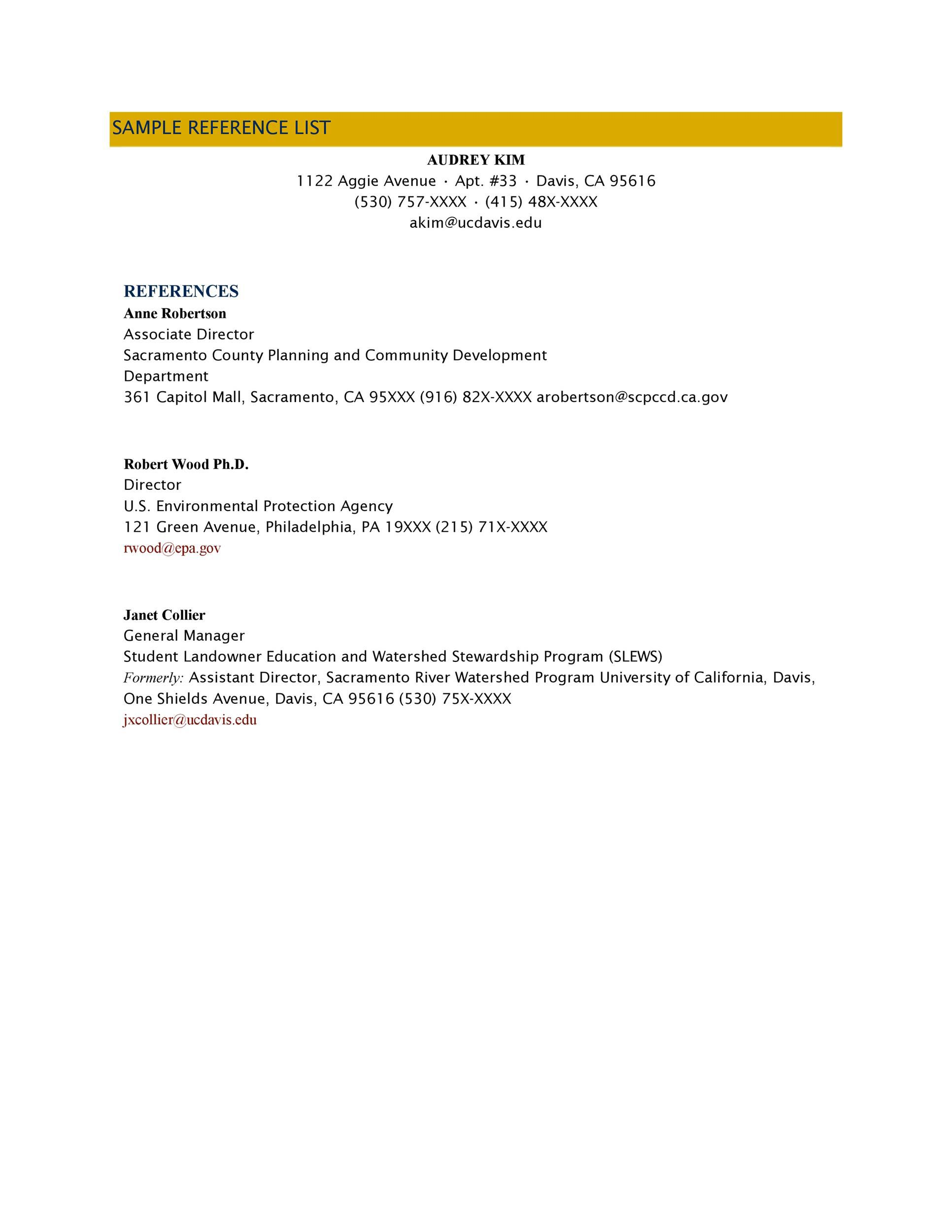 007 Breathtaking List Of Reference Template Idea  Employment Format Professional FreeFull