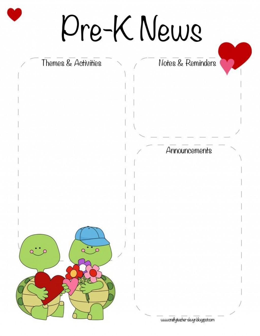 007 Breathtaking Pre K Newsletter Template Idea  Templates Free Printable ClassroomLarge