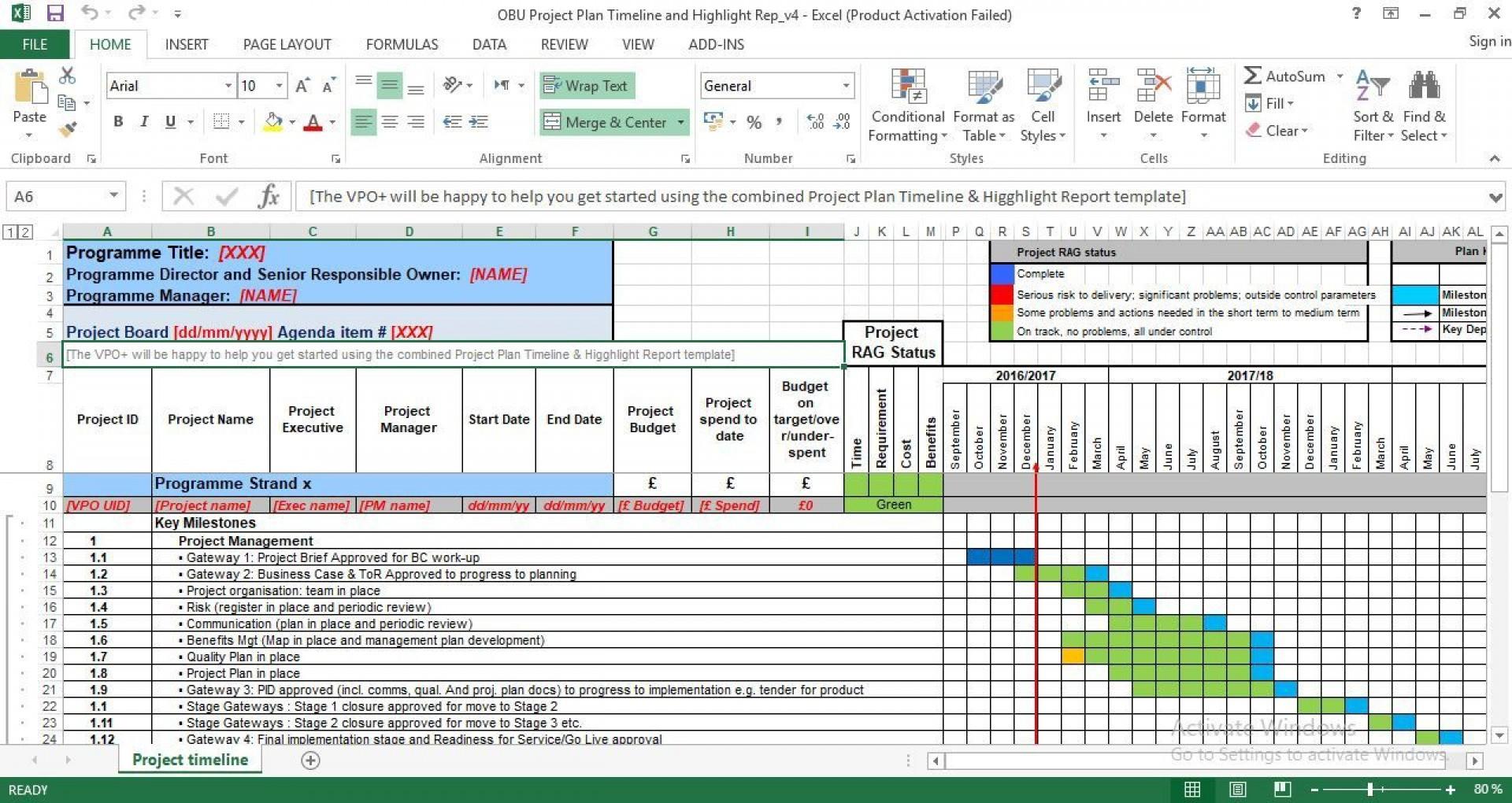 007 Breathtaking Project Management Timeline Template Photo  Plan Pmbok Planner1920
