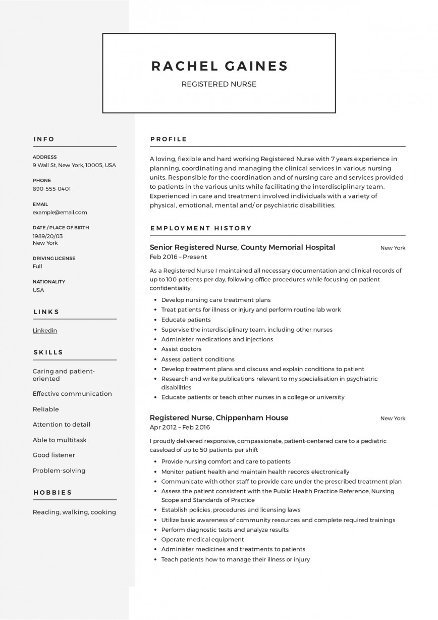007 Breathtaking Resume Template For Nurse High Def  Sample Nursing Assistant With No Experience Rn' Free868
