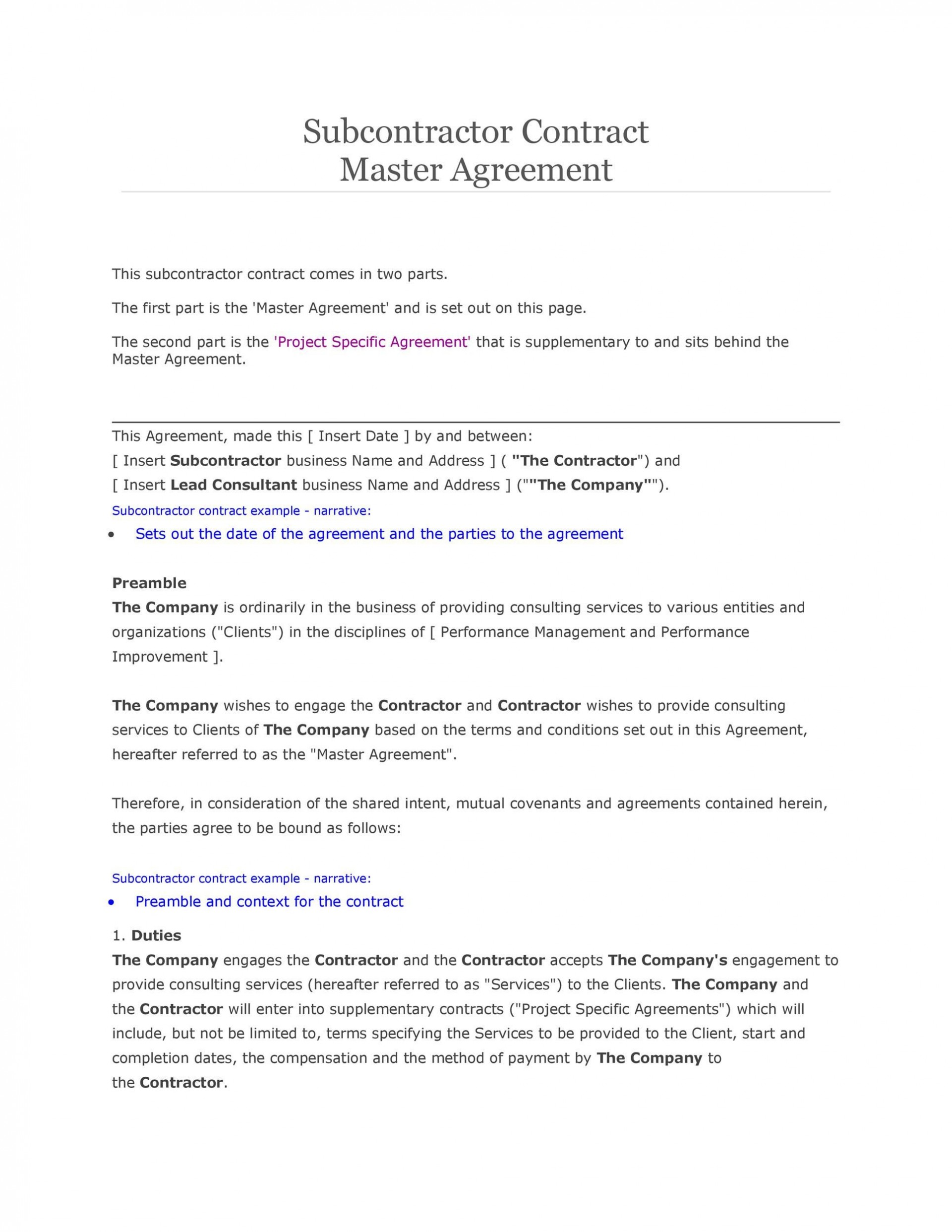 007 Breathtaking Subcontractor Contract Template Free Example  Uk1920