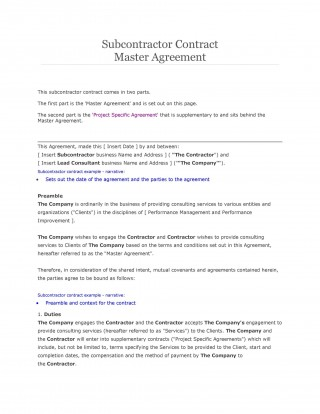 007 Breathtaking Subcontractor Contract Template Free Example  Uk320