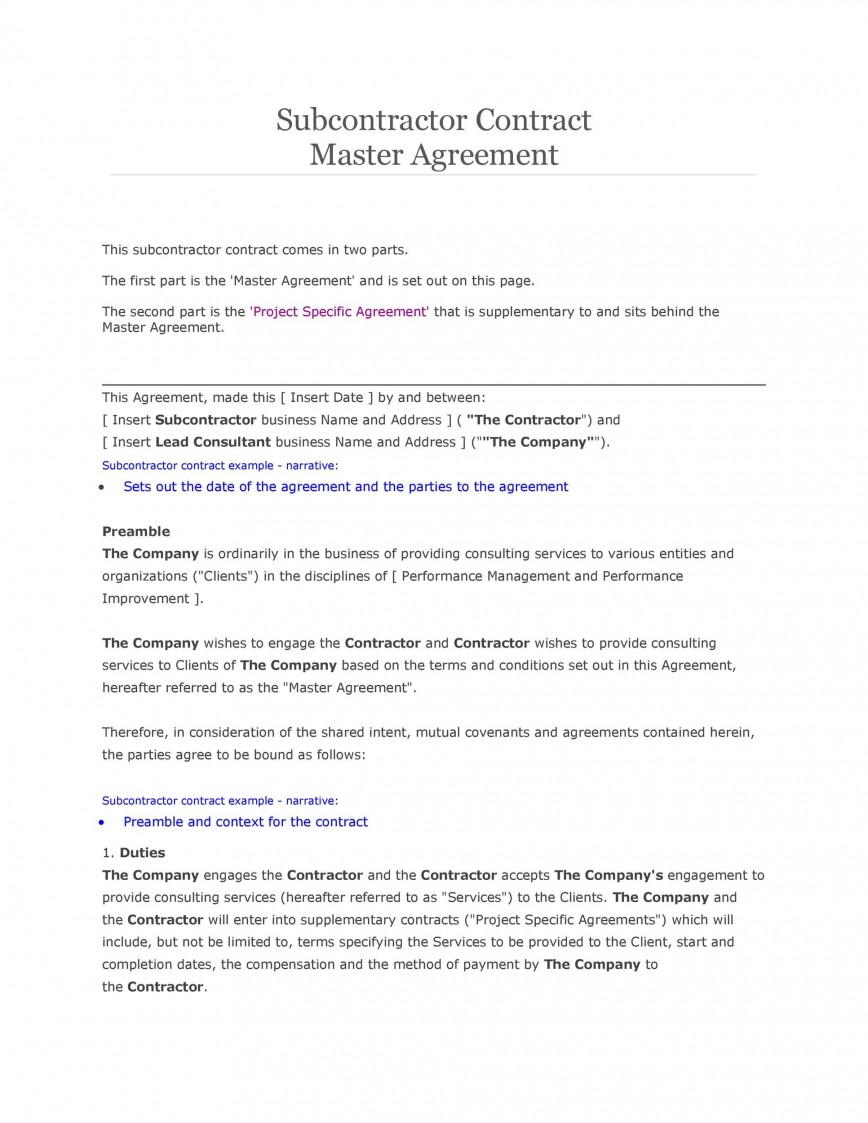 007 Breathtaking Subcontractor Contract Template Free Example  Uk868