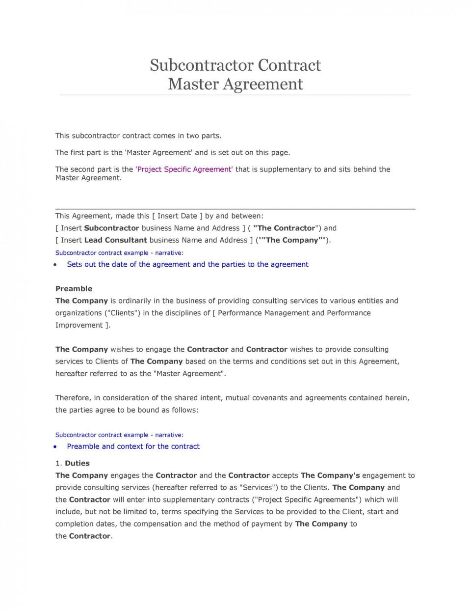 007 Breathtaking Subcontractor Contract Template Free Example  Uk960
