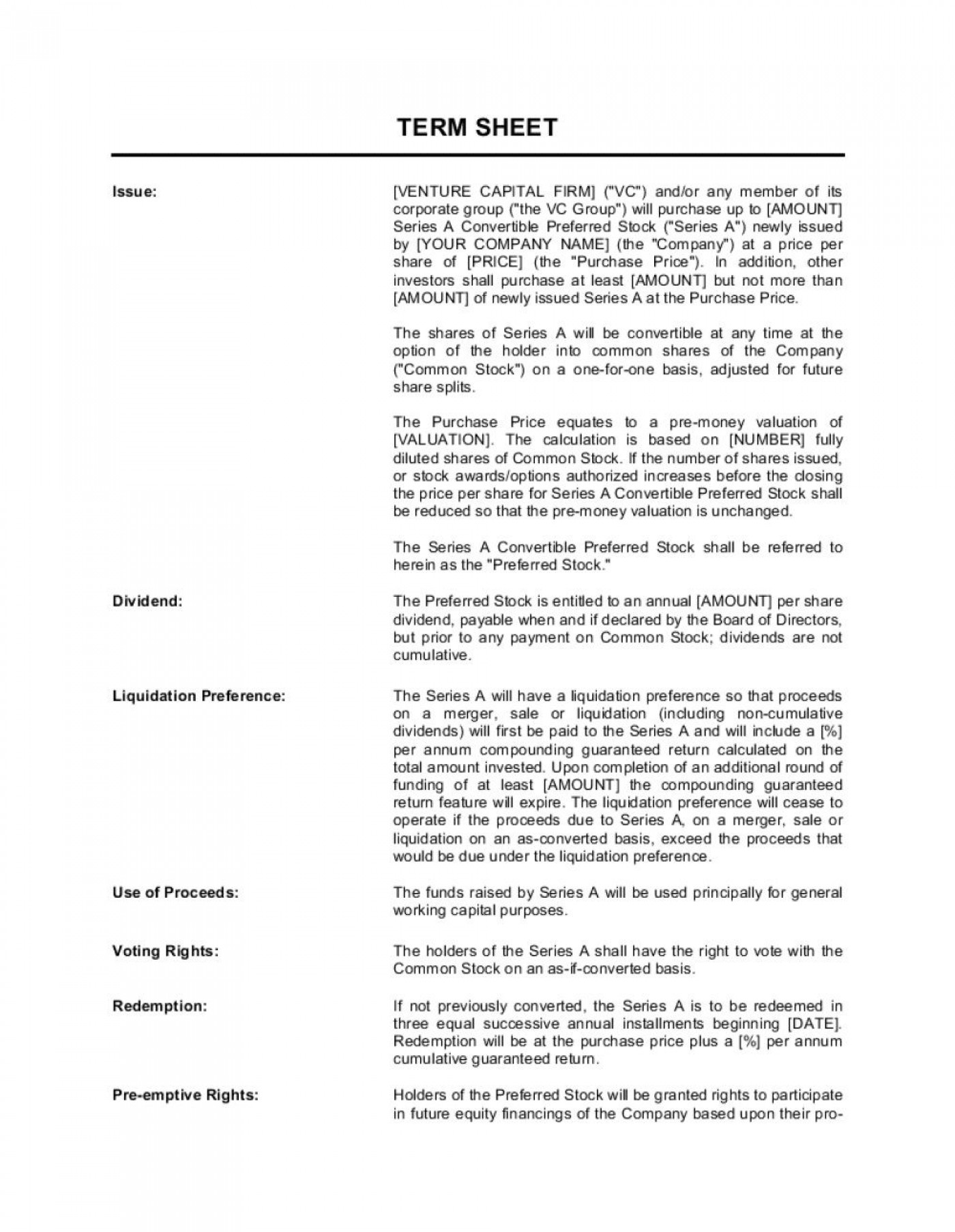 007 Breathtaking Term Sheet Template Word Concept  Simple Loan Microsoft1400