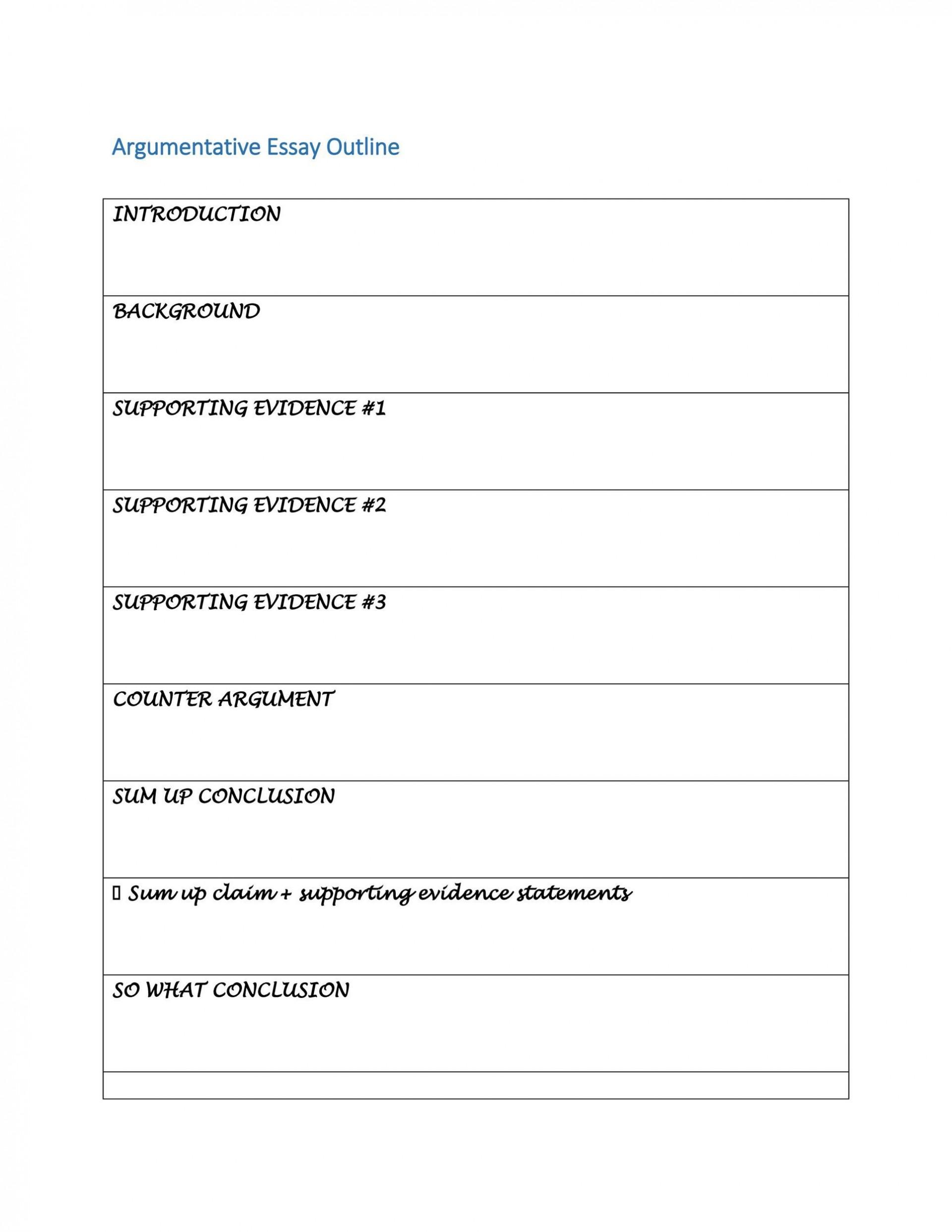 007 Dreaded Argumentative Essay Outline Template Inspiration  Mla Format Doc Middle School1920