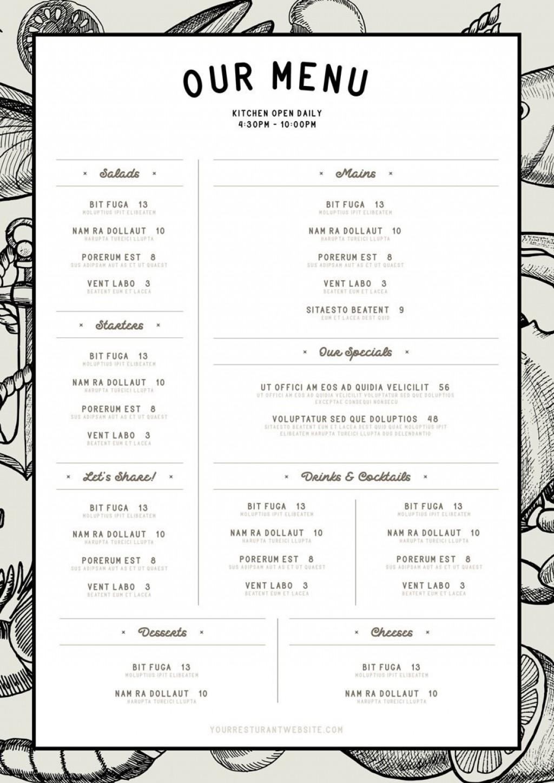 007 Dreaded Blank Restaurant Menu Template Inspiration  Free Printable DownloadableLarge