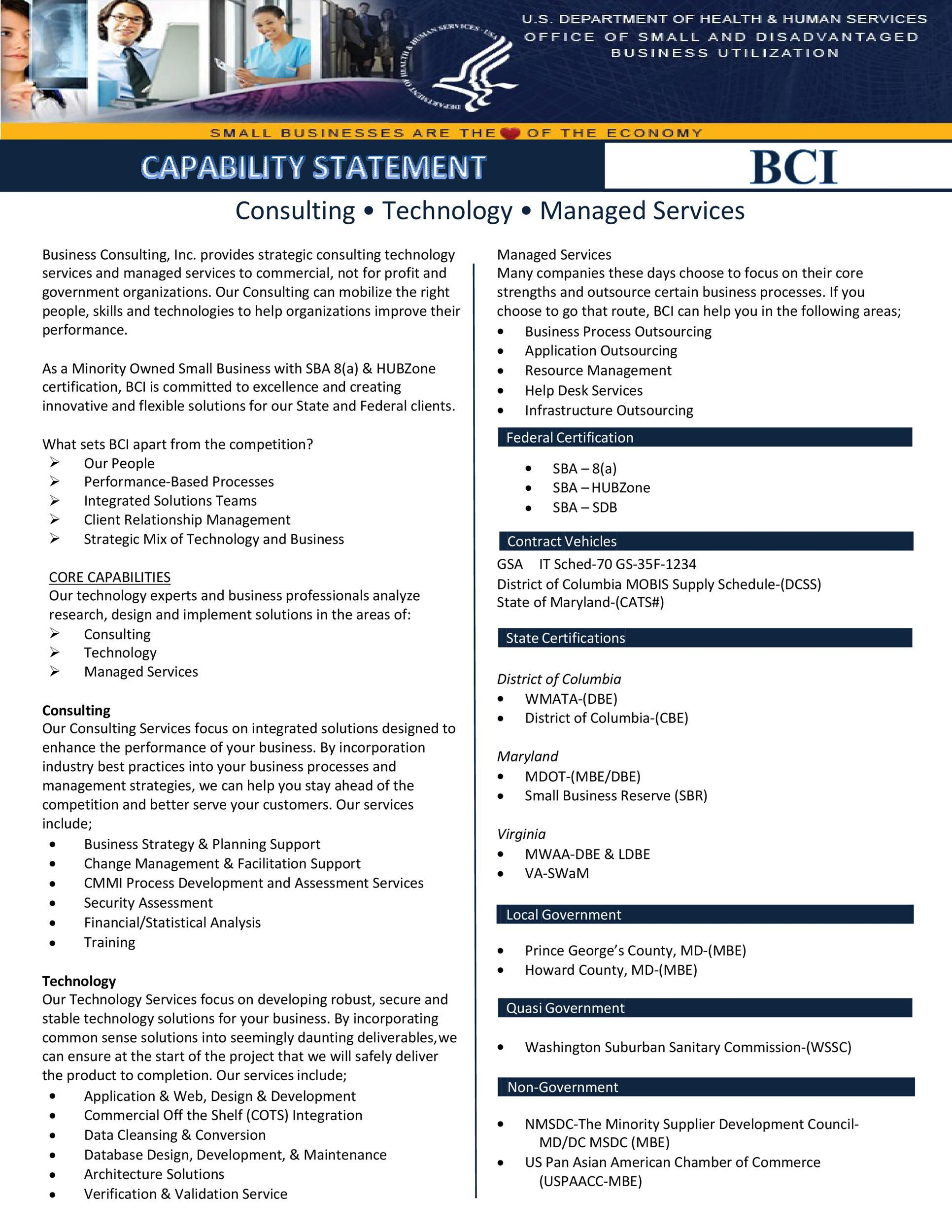 007 Dreaded Capability Statement Template Word Doc Example  Document FreeFull