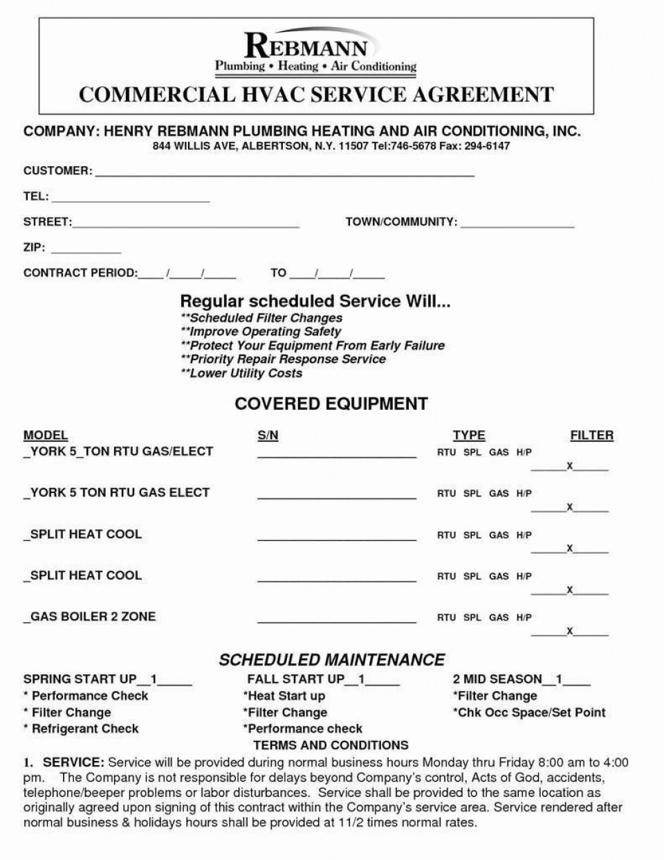 007 Dreaded Commercial Hvac Service Agreement Template Picture  Maintenance Contract960