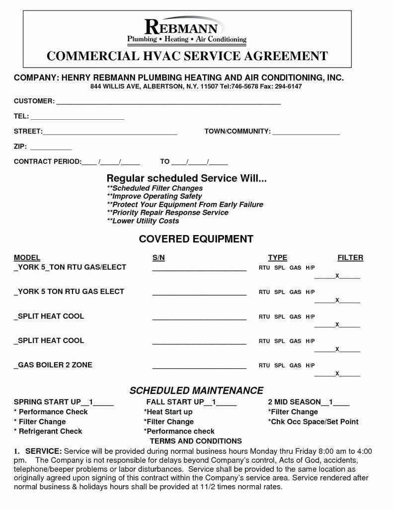 007 Dreaded Commercial Hvac Service Agreement Template Picture  Maintenance ContractFull