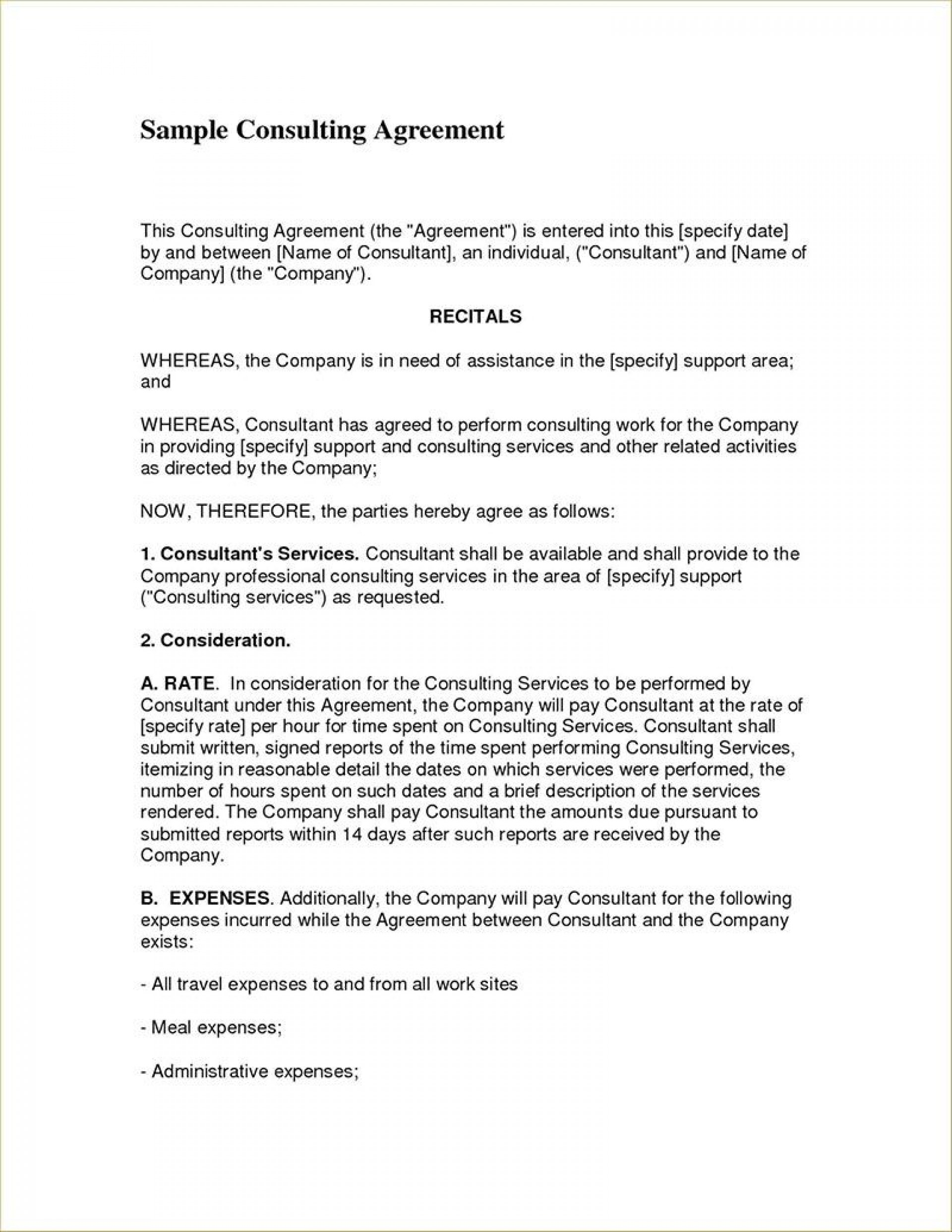 007 Dreaded Free Consulting Agreement Template Image  Word South Africa Uk1920