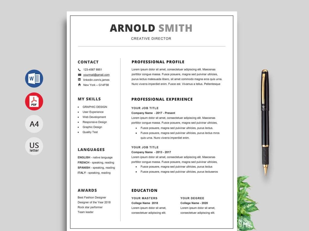 007 Dreaded Free Resume Template 2018 Printable Idea Large