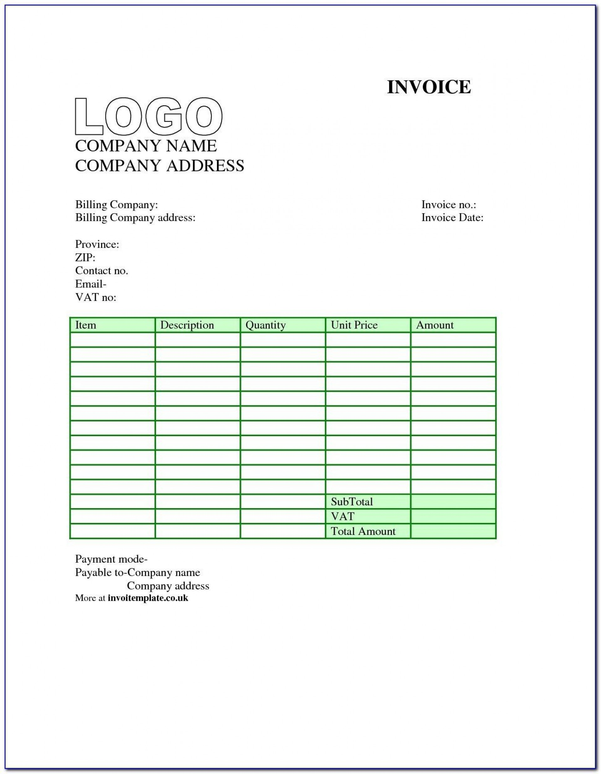 007 Dreaded Free Uk Vat Invoice Template Excel High Resolution 1920