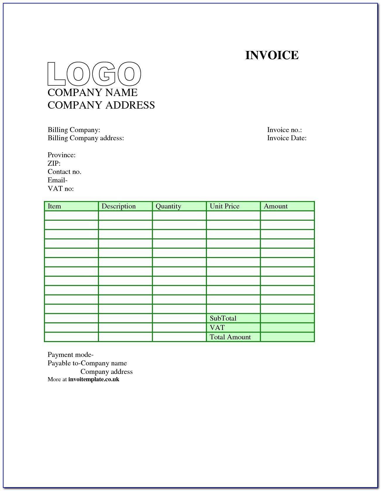 007 Dreaded Free Uk Vat Invoice Template Excel High Resolution Full